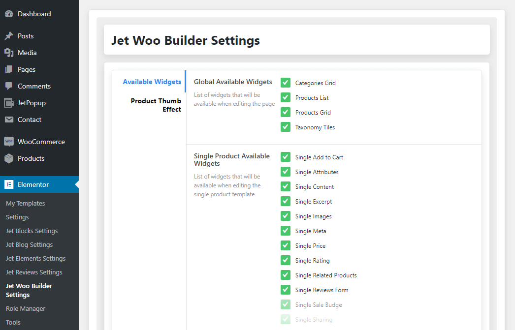 JetWooBuilder available widgets settings