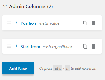 Admin Columns block