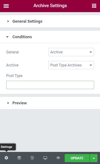 Archive page Condition settings