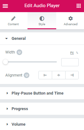 Audio Player widget Style settings