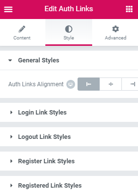 auth-links-style-settings