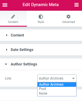 Author settings in the Dynamic Meta widget