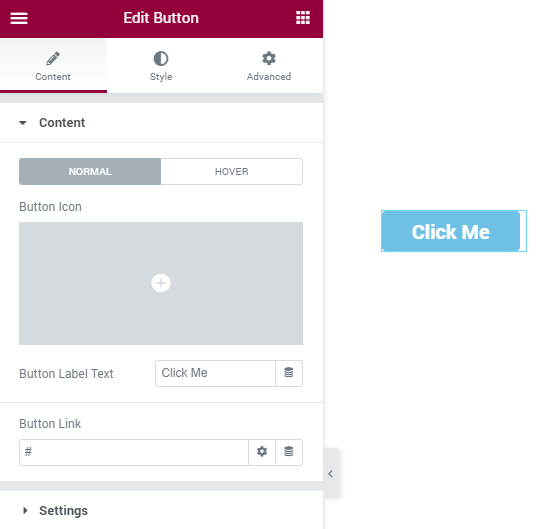 Button Content section