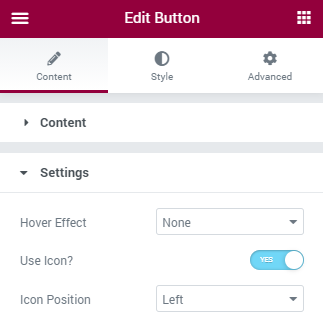 Button Settings section