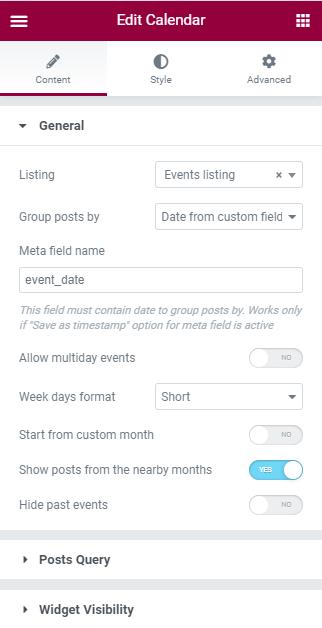 Calendar widget general settings