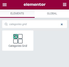 Categories Grid widget