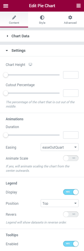 Pie Chart Settings section