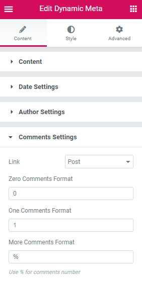 Comments settings in the Dynamic Meta widget