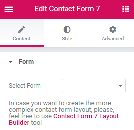 Contact Form widget content settings