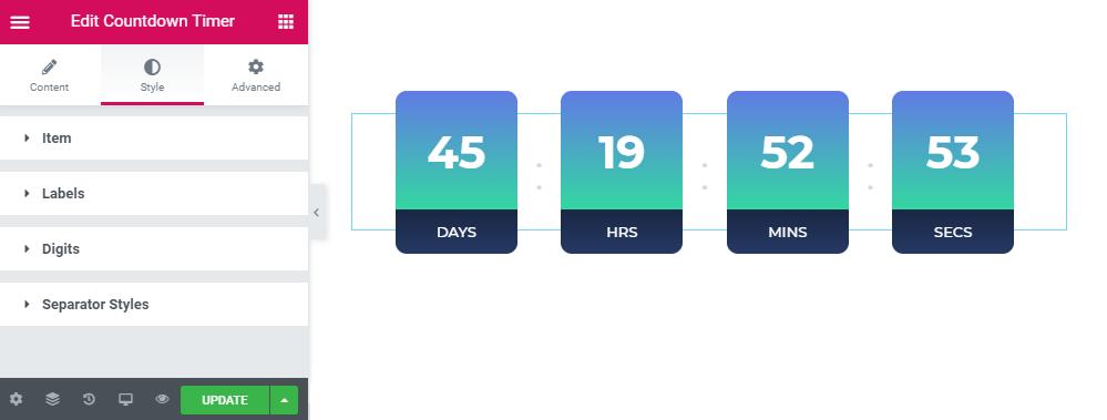 Style settings in Countdown widget
