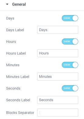 Countdown Timer General settings