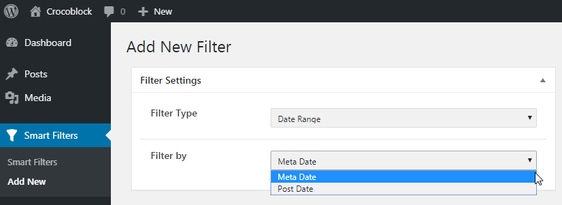 Filter By options in WP Dashboard