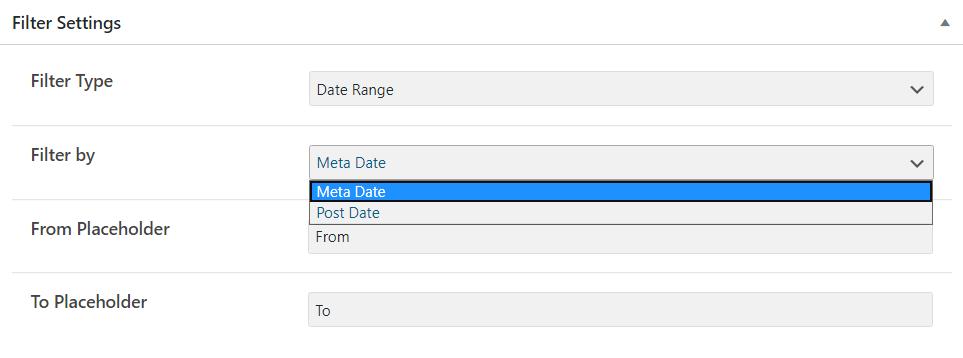 Date Range Filter settings