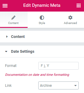 date settings of the Dynamic Meta widget