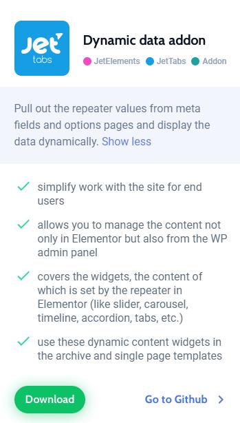 elementor dynamic data addon details