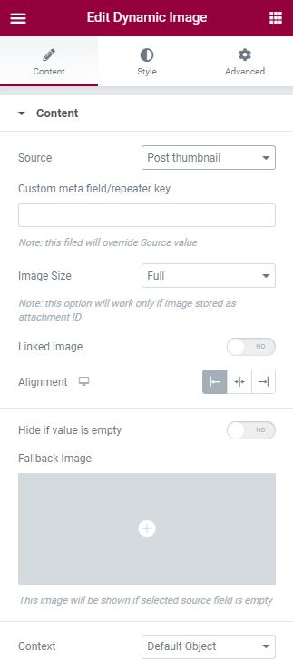 Dynamic Image settings