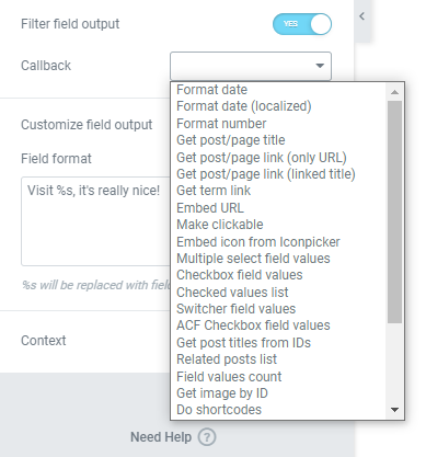 Filter field output options