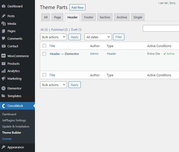 header settings tab