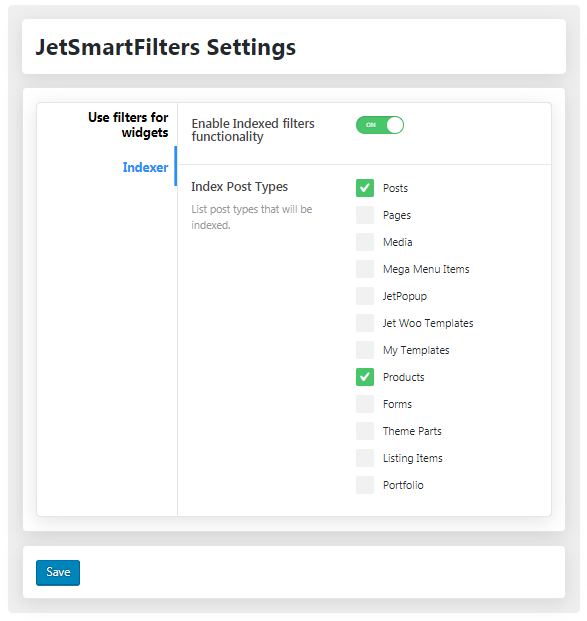 Indexed filters of JetSmartFilters Settings in WP Dashboard