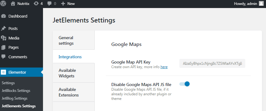 JetElements integrations settings