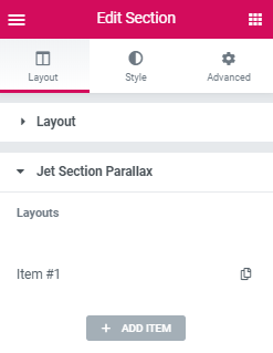 JetElements section parallax for Elementor