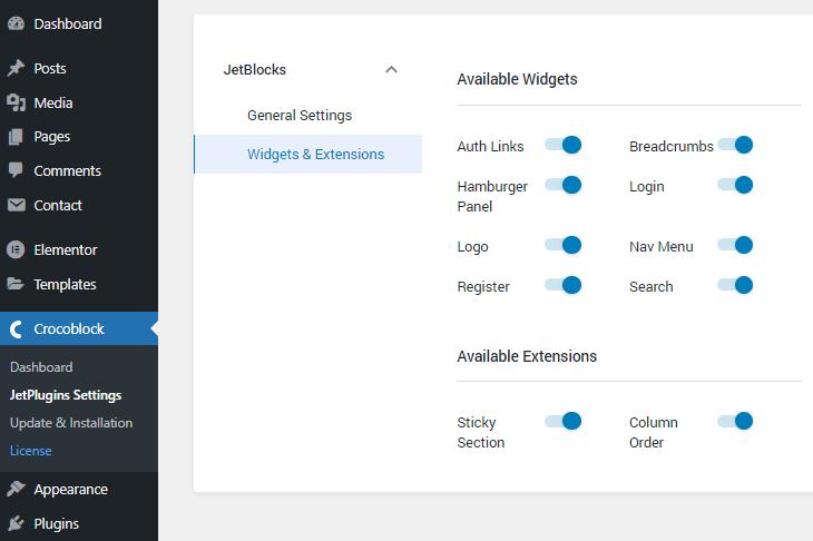 jwtblock plugin widgets and extensions