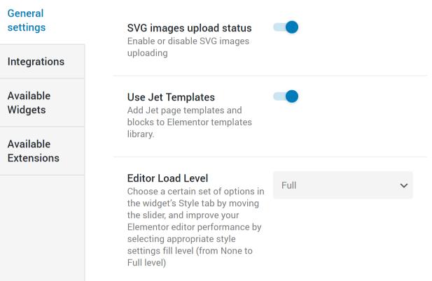 JetElements General settings tab