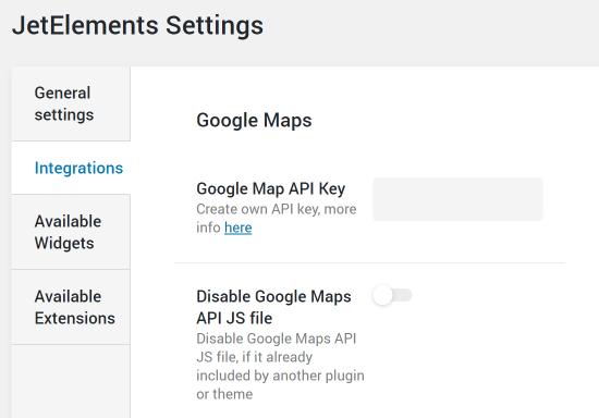 JetElements google map settings