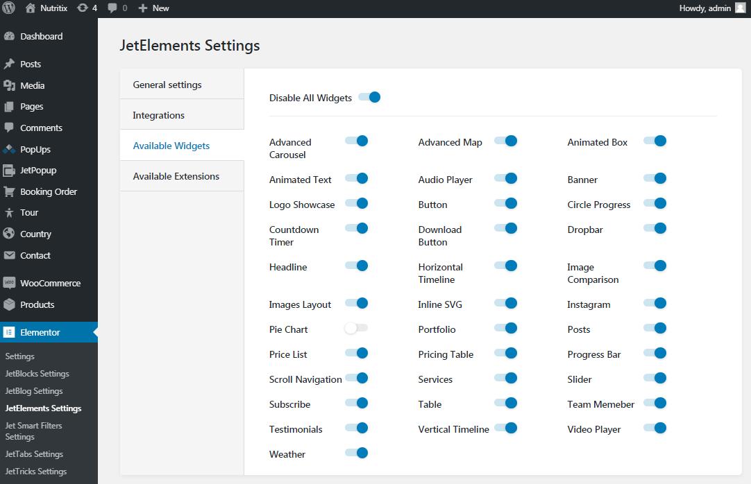 JetElements settings for Elementor