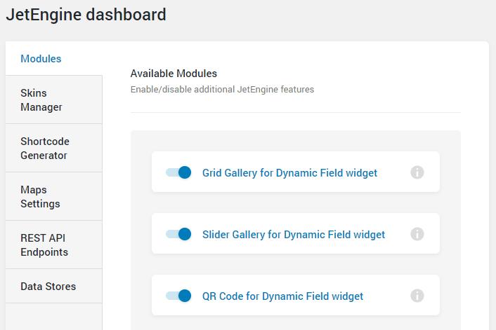 JetEngine dashboard modules