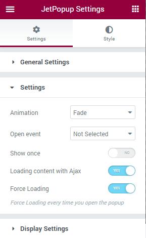 Jetpopup settings