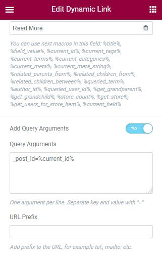 Link query arguments