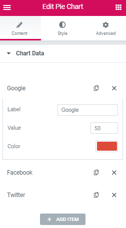 Chart data settings in Pie Chart widget