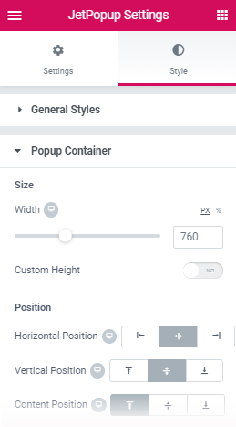 popup container settings