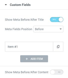 Posts widget custom fields settings