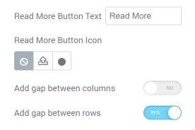 Posts widget Genersl settings section
