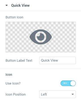 Products List widget Quick View setting