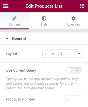 Product List widget General settings