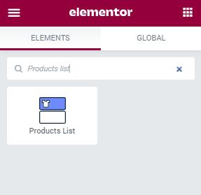 Products List widget