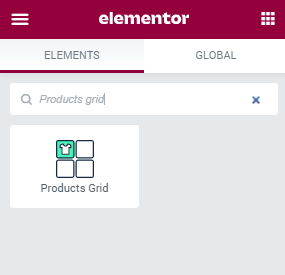 Products Grid widget