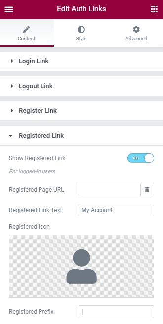 registered link settings