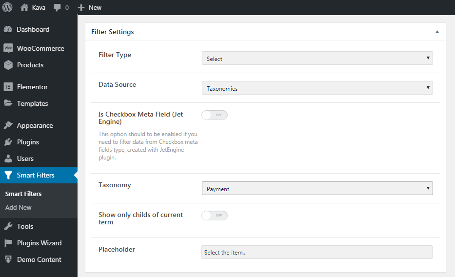 Settings for JetSmartFilters in WP Dashboard