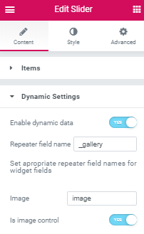 slider dynamic settings