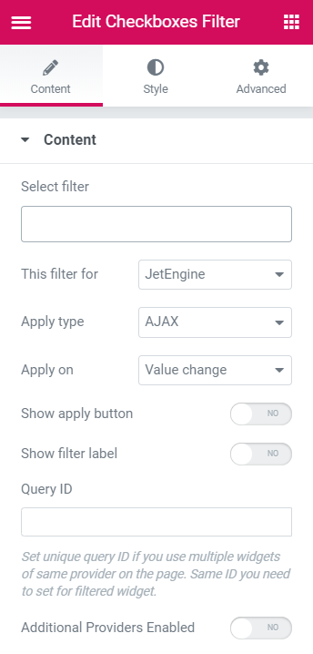 smart filters content tab