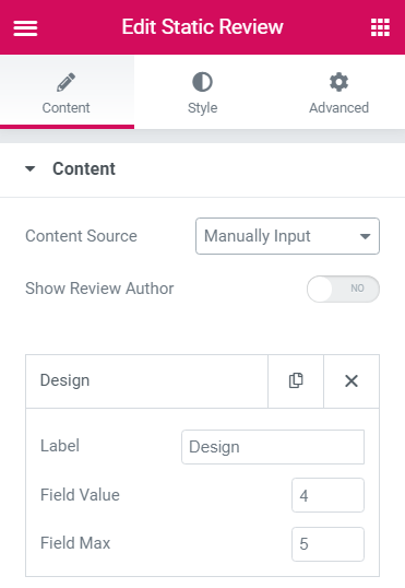 Static Reviews widget Settings block for manually input option