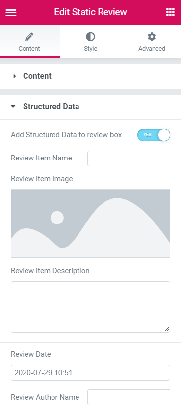 Static Reviews widget Structured data block