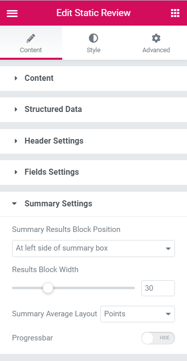 Static Reviews widget Summary settings block