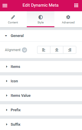 Style settings of the Dynamic Meta widget