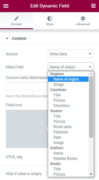 choosing meta data in Source drop-down