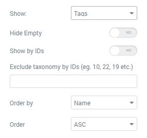 Taxonomy Tiles General settings